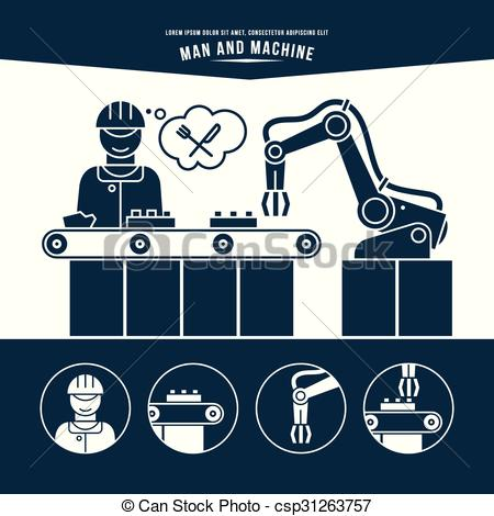 Man vs machine clipart jpg freeuse stock Clipart Vector of Production line. Man and machine. Monochrome ... jpg freeuse stock