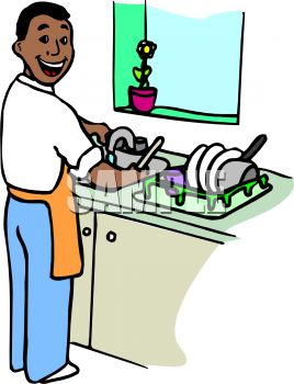 Man washing dishes clipart