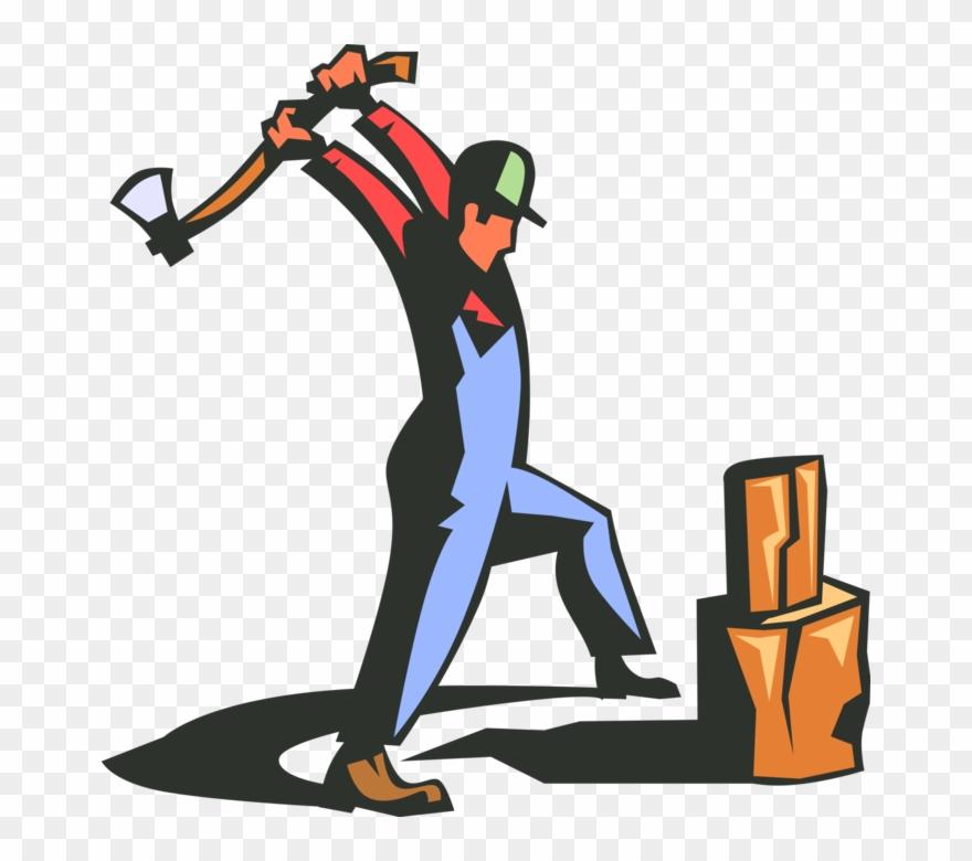 Splitting clipart clip art freeuse Vector Illustration Of Lumberjack With Axe Splitting - Man With Axe ... clip art freeuse