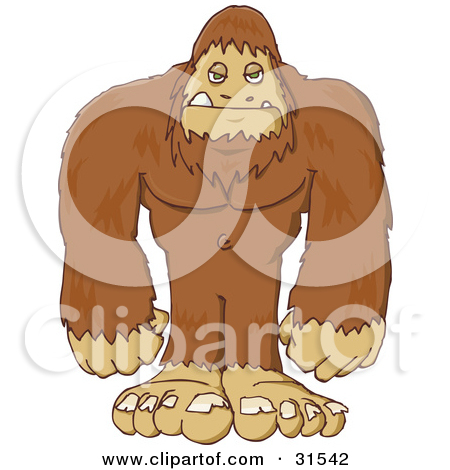 Man with big feet clipart jpg black and white stock Bigfoot Man Making a Funny Face Clipart by Dennis Cox #5067 jpg black and white stock