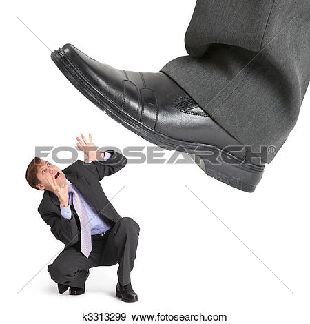 Man with big feet clipart svg library Stock Photograph of Big foot of crisis crushes small entrepreneur ... svg library