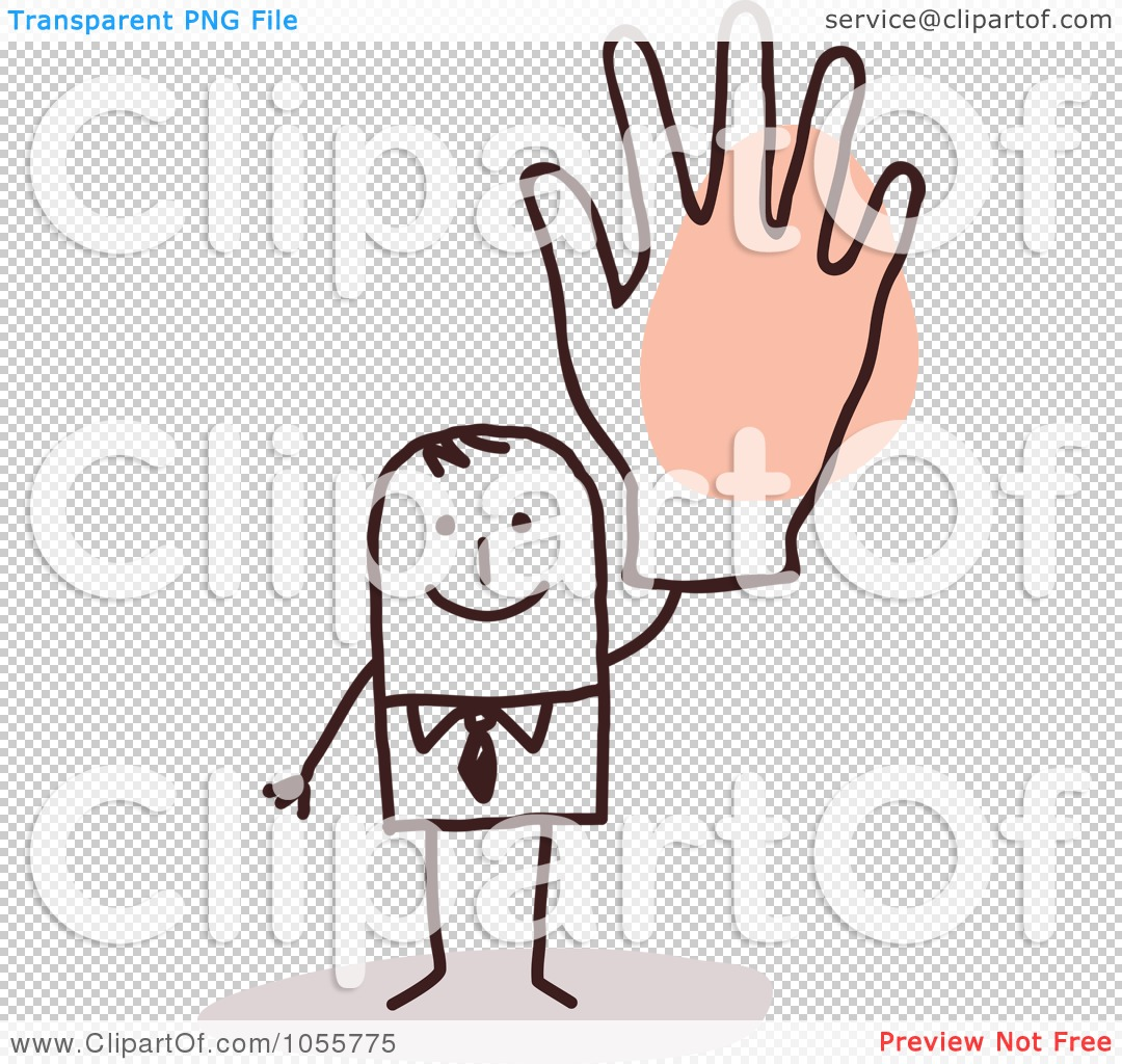 Man with big hand clipart clipart freeuse Royalty-Free Vector Clip Art Illustration of a Stick Man Waving ... clipart freeuse