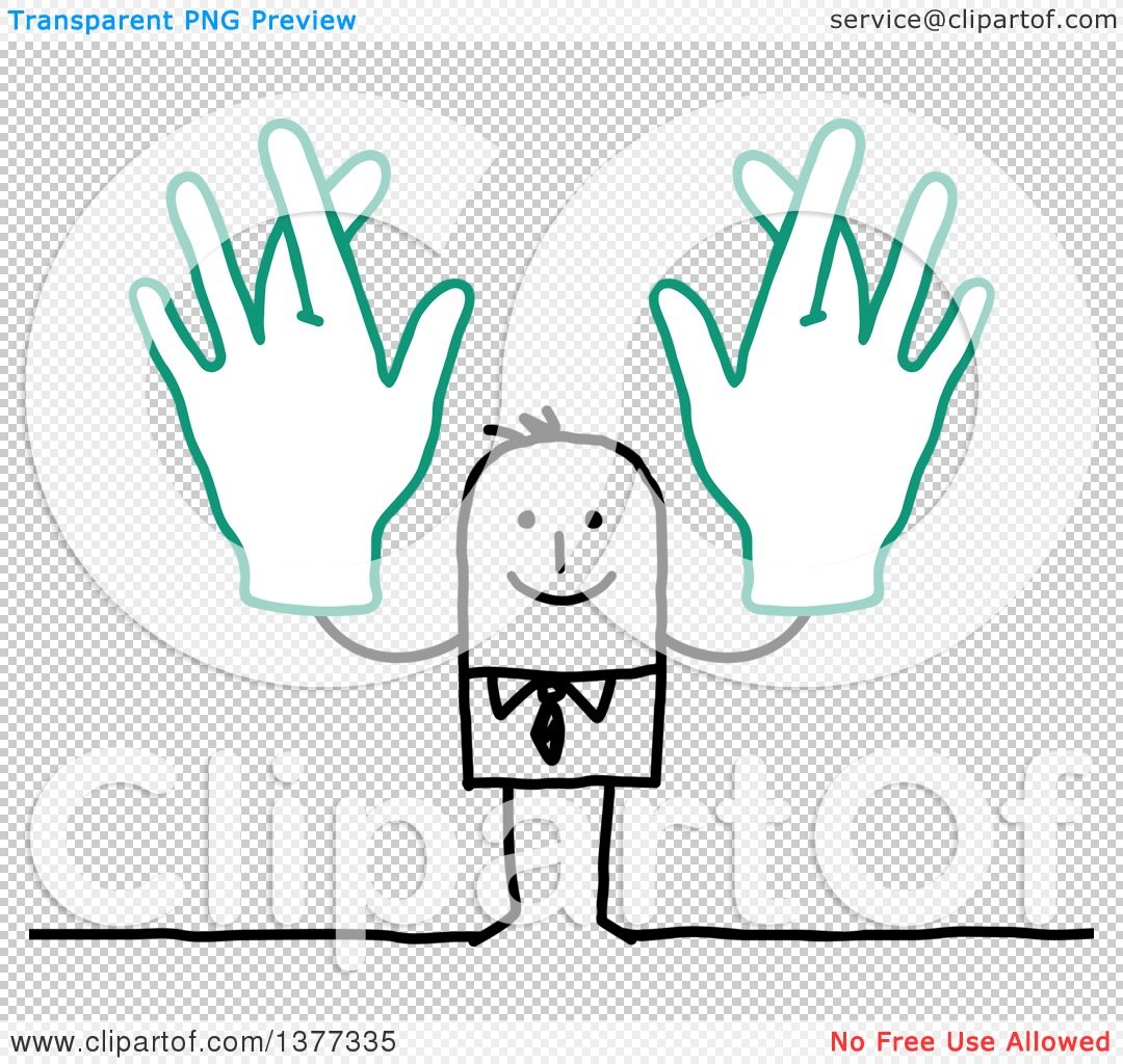 Man with big hand clipart clip art library stock Clipart of a Stick Business Man Holding up Big Hands with Crossed ... clip art library stock