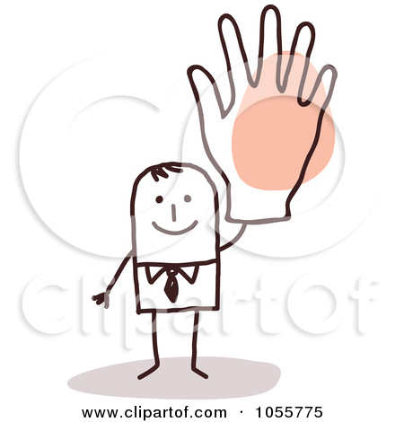 Man with big hand clipart graphic freeuse library Royalty-Free Vector Clip Art Illustration of a Stick Man Waving ... graphic freeuse library