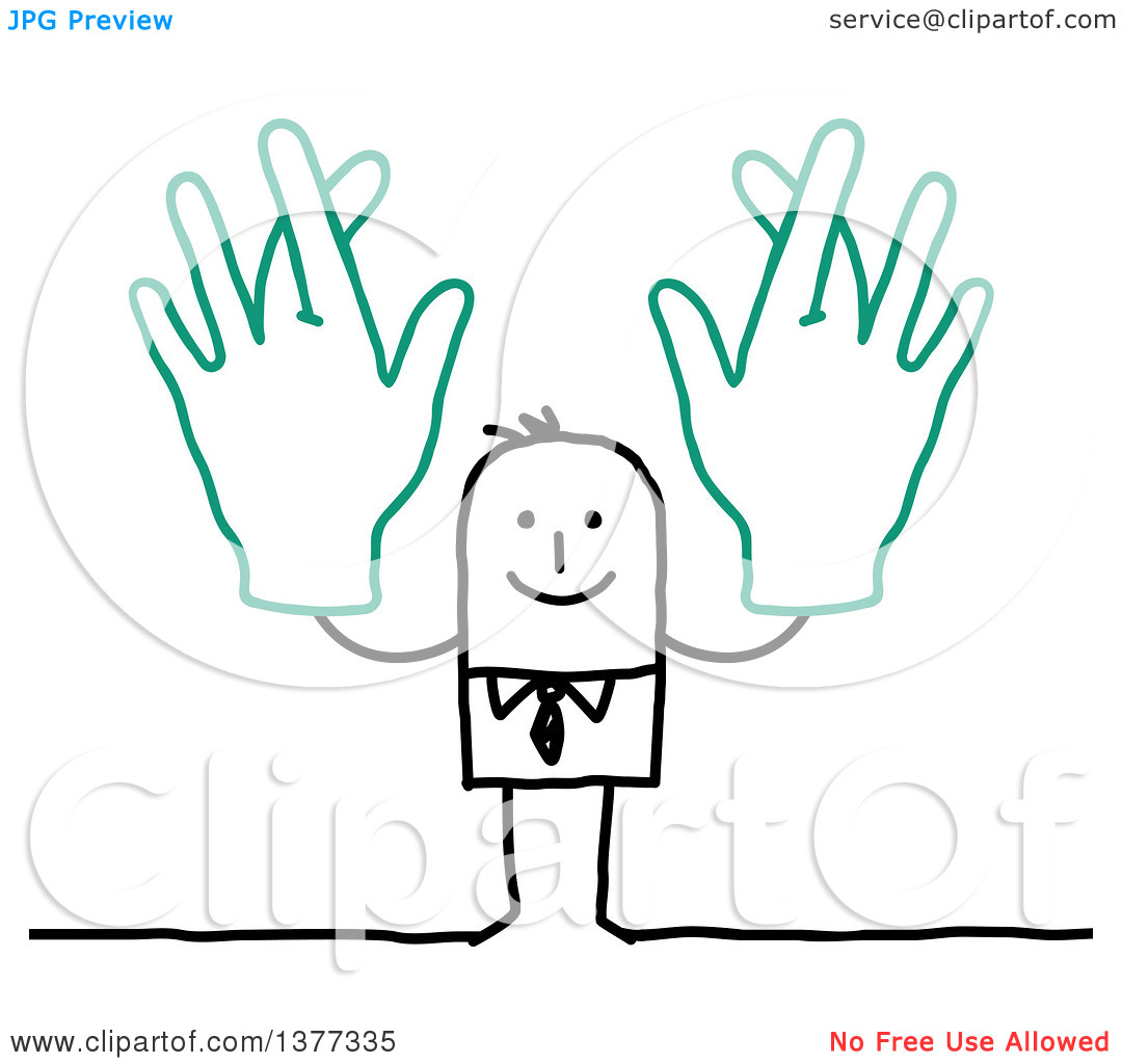 Man with big hand clipart banner library stock Clipart of a Stick Business Man Holding up Big Hands with Crossed ... banner library stock