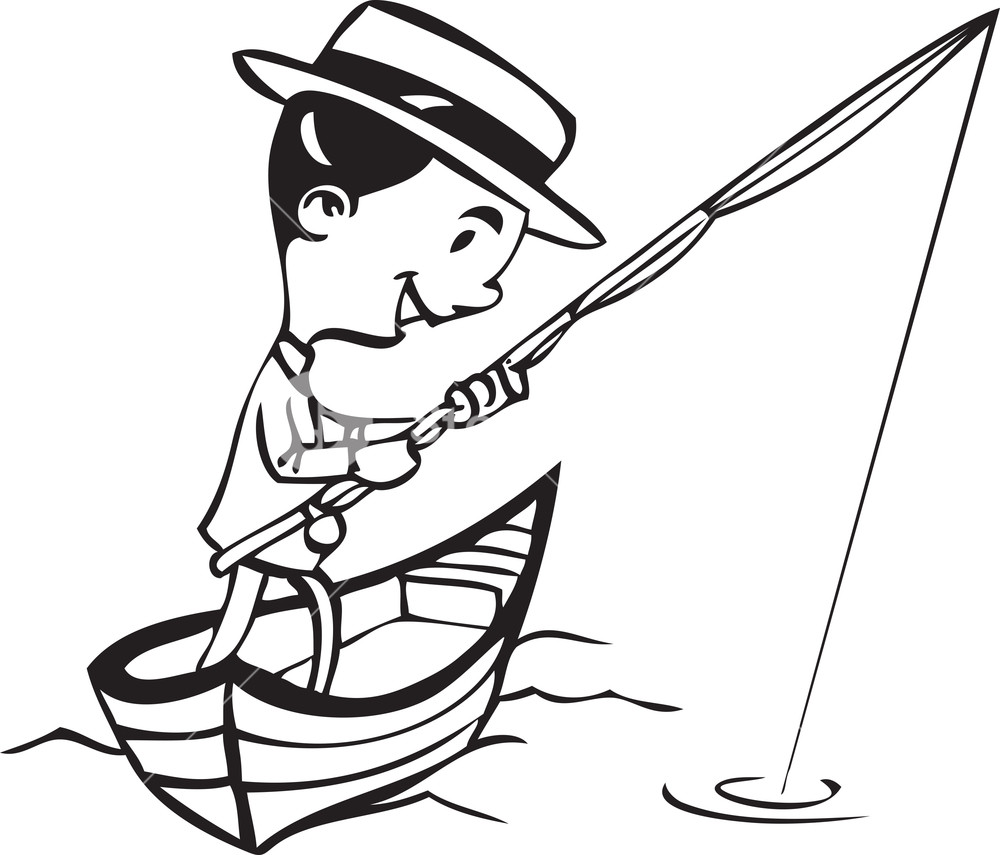 Man with fish black and white clipart graphic royalty free stock Illustration Of A Man With Fishing Pole. Royalty-Free Stock ... graphic royalty free stock