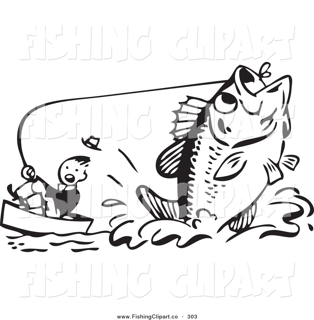 Man with fish black and white clipart banner freeuse Clip Art of a Retro Black and White Man Pulling up a Giant ... banner freeuse
