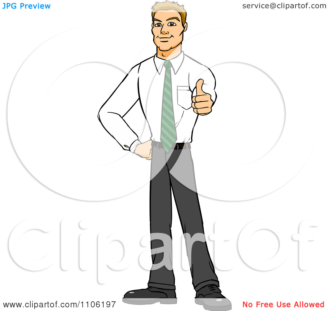 Man with thumbs up clipart banner transparent library Clipart Happy Blond Business Man Holding A Thumb Up - Royalty Free ... banner transparent library