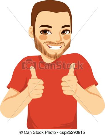 Man with thumbs up clipart vector freeuse Vector Clip Art of Positive Thumbs Up Man - Positive young man ... vector freeuse