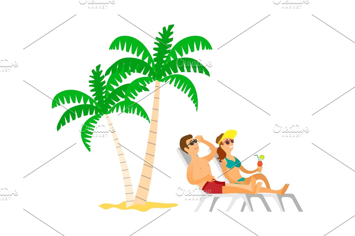 Man & woman on chasie lounger clipart image transparent stock People Sunbathing near Palm Tree image transparent stock
