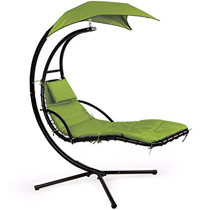 Man & woman on chasie lounger clipart clip art library library XtremepowerUS Floating Swing Chaise Lounge Chair Hammock Lounger Patio  Lounge Seat Backyard w/Cushion- Green clip art library library