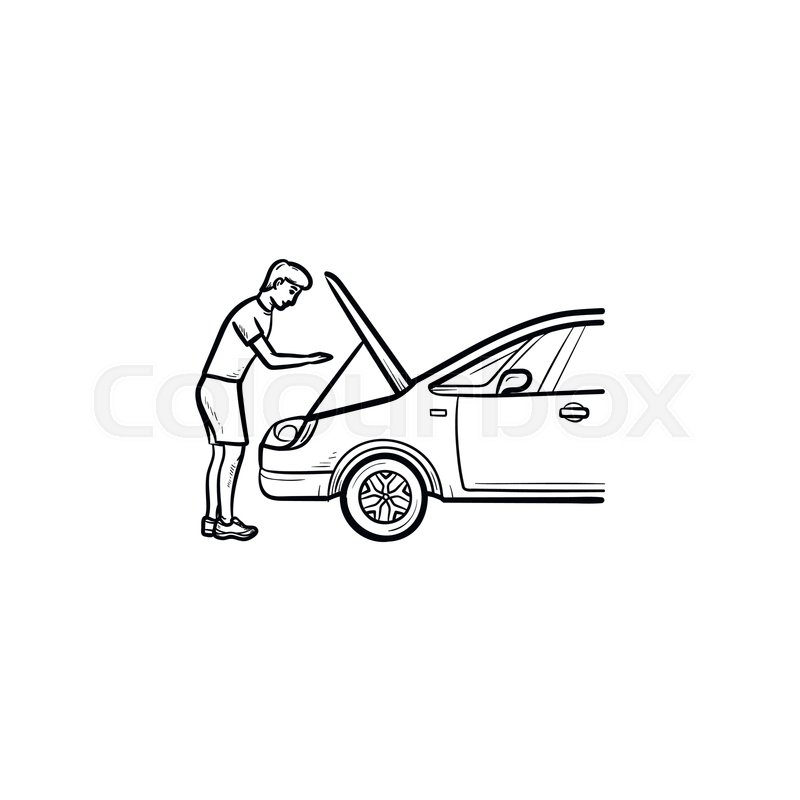 Man working under car black and white clipart svg library stock Man under the hood of car hand drawn ...   Stock vector ... svg library stock