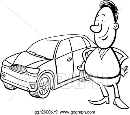 Man working under car black and white clipart banner royalty free Clip Art Vector - Man and car cartoon coloring page. Stock ... banner royalty free