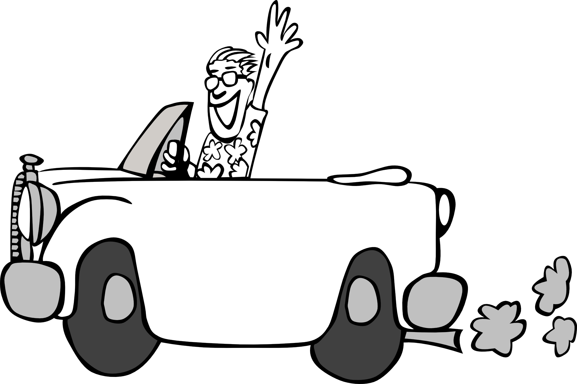 Man working under car black and white clipart
