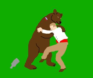 Man wrestling bear clipart jpg download Drunk Russian bear wrestles a man - Drawception jpg download