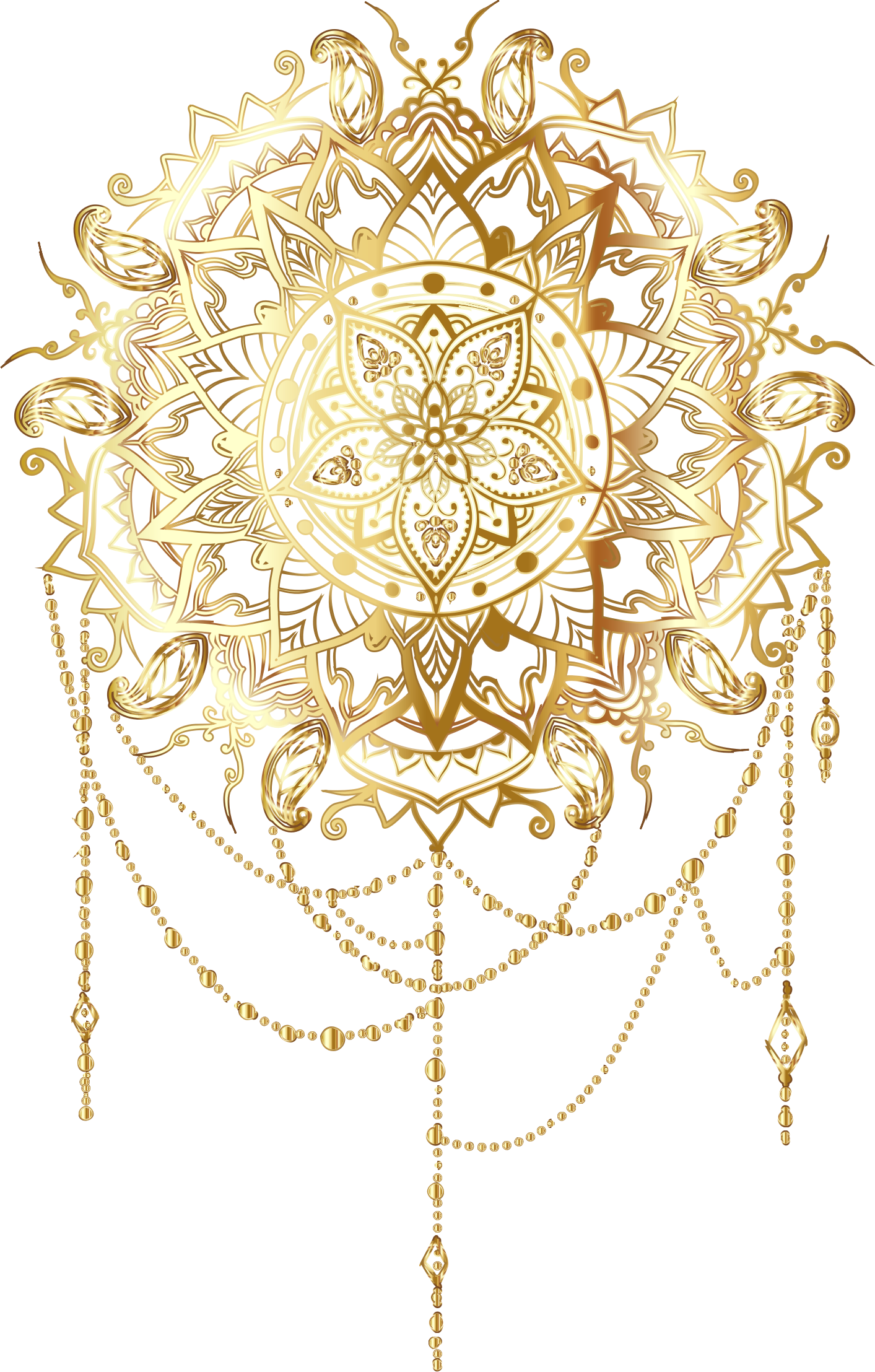 Mandala flower clipart graphic library download Clipart - Gold Intricate Floral Mandala No Background graphic library download