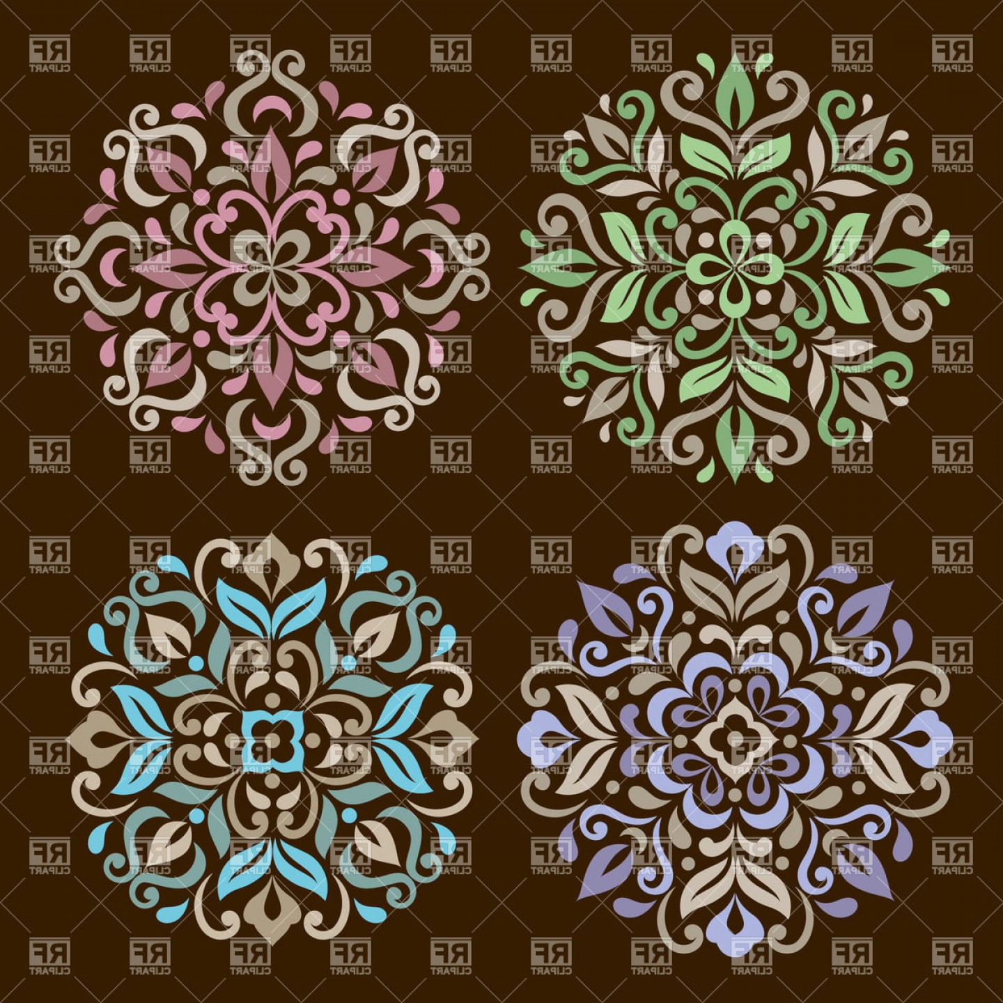 Mandala vector clipart image library Round Ornamental Elements Floral Mandala Vector Clipart | CQRecords image library