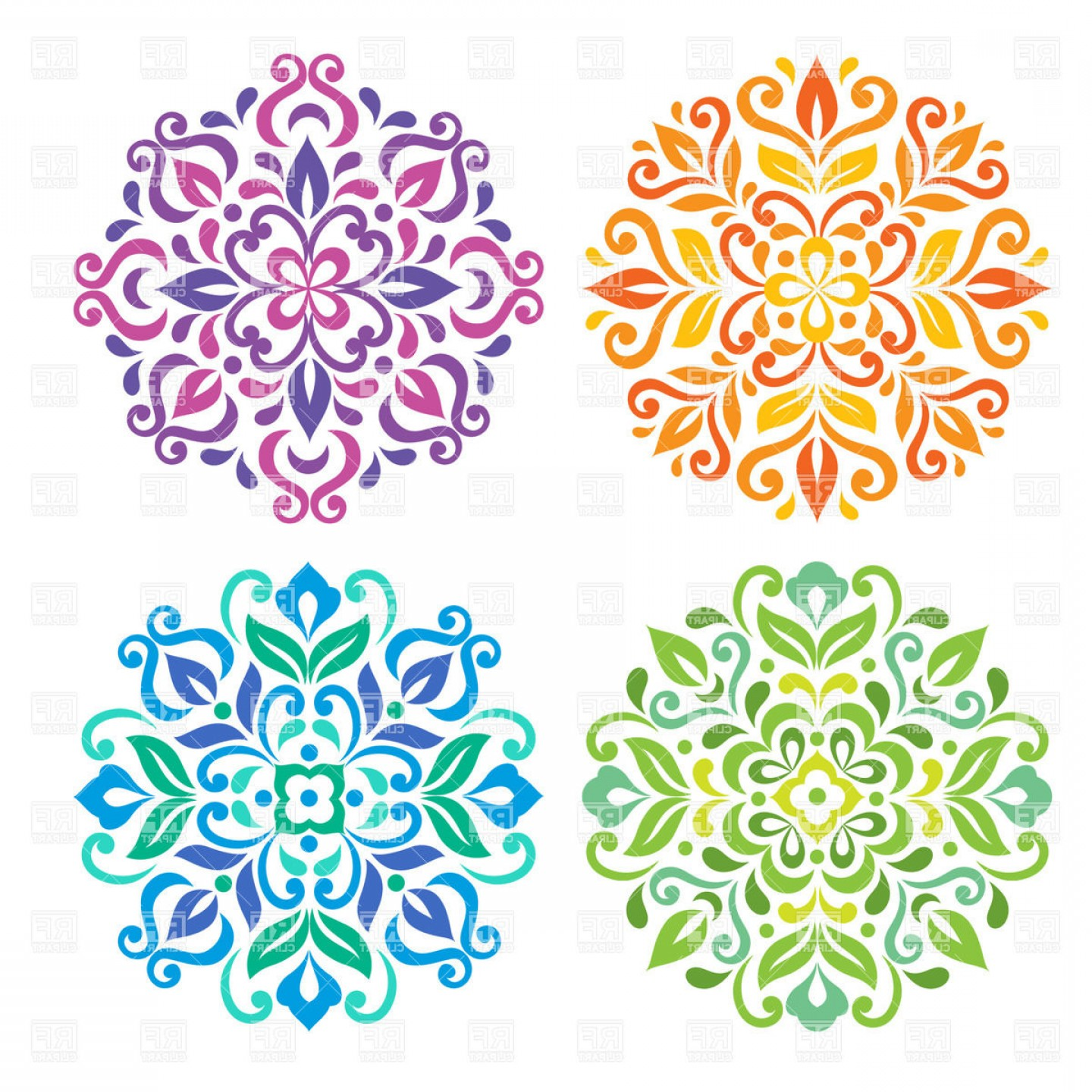 Mandala vector clipart png freeuse library Colorful Round Floral Mandalas Vector Clipart | CQRecords png freeuse library