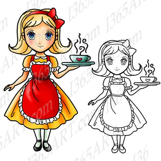 Manga character clipart png freeuse Cafe girl clipart, Digital Stamp, Coloring Page, Clipart ... png freeuse