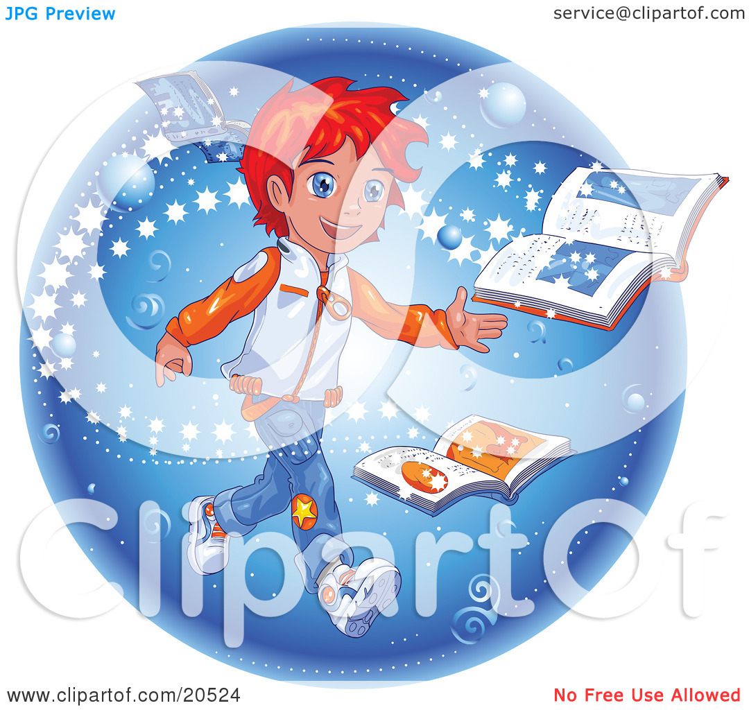 Manga clip art book banner transparent Clipart Illustration of a Red Haired Manga Boy Reading A Magic ... banner transparent