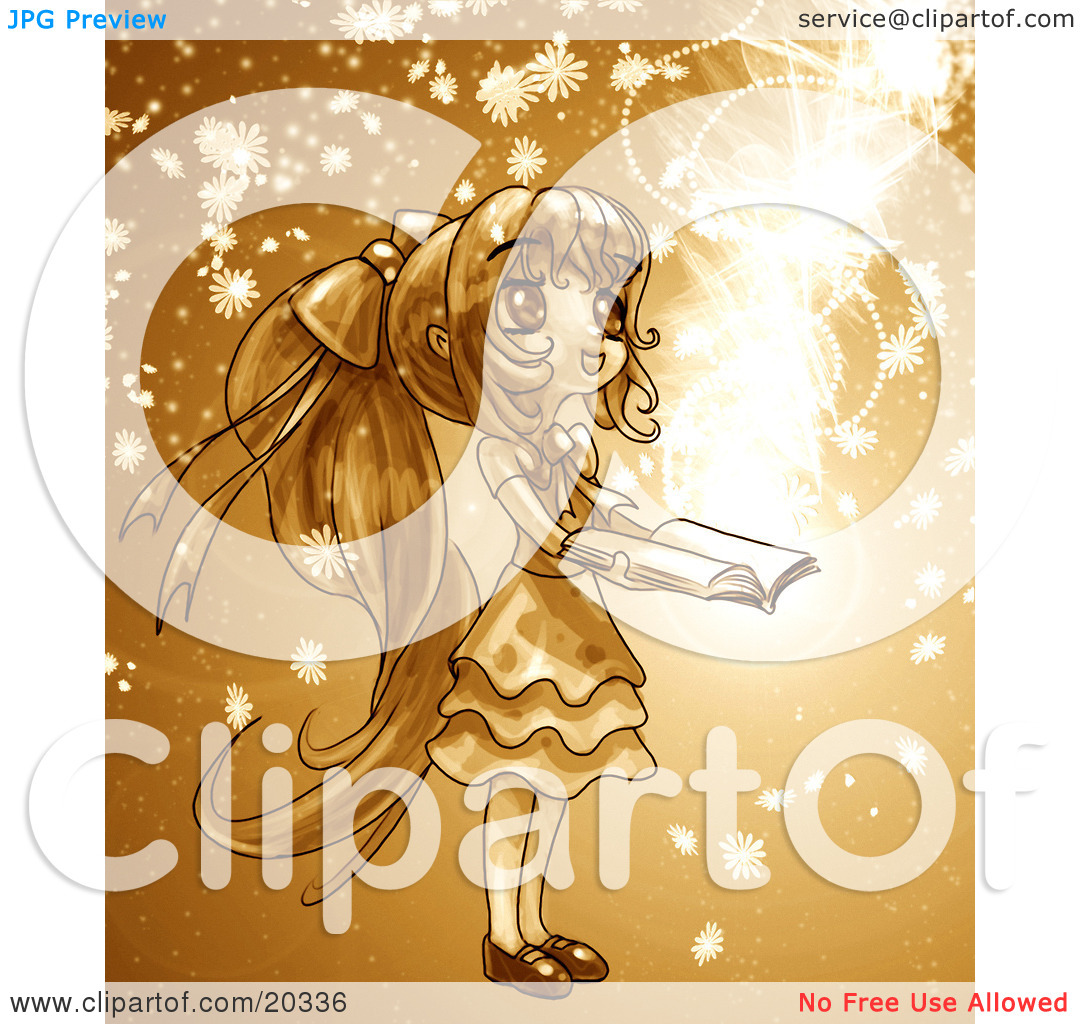 Manga clip art book banner transparent library Clipart Picture of a Cute, Long Haired Manga Girl In A Dress ... banner transparent library