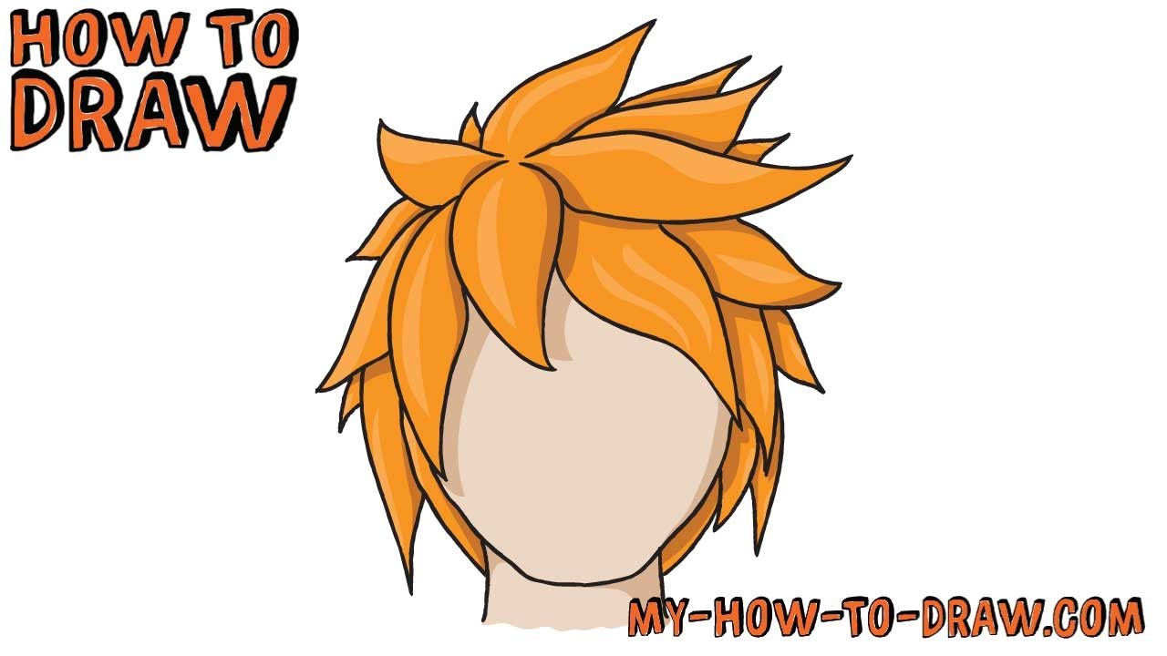 Manga hair clipart clip art free stock How to draw Anime Hair - How to draw Manga Hair - Easy step-by ... clip art free stock