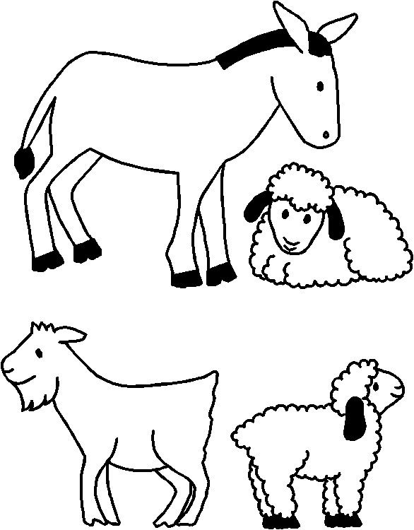 Manger animals clipart vector stock Nativity Animals for Paper Doll Friends | Misc. | Nativity crafts ... vector stock