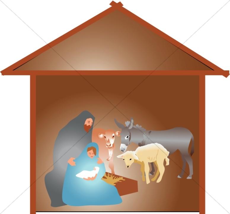 Manger animals clipart banner freeuse download Nativity Scene with Animals | Manger Clipart banner freeuse download