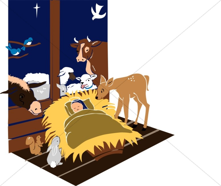 Manger animals clipart vector royalty free download Manger Scene with Jesus and Animals | Baby Jesus Clipart vector royalty free download