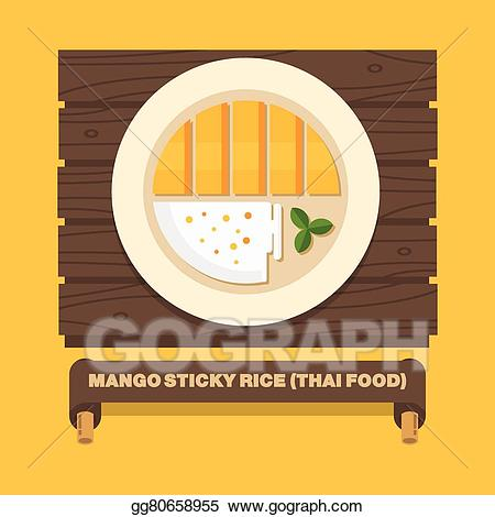 Mango sticky rice clipart clip Vector Clipart - Thailand\'s national dishes, thai mango sticky rice ... clip