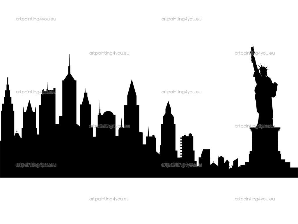 Manhattan skyline black and white clipart vintage banner transparent library Vintage Statue of Liberty and NYC Sky Line ~ This dramatic ... banner transparent library