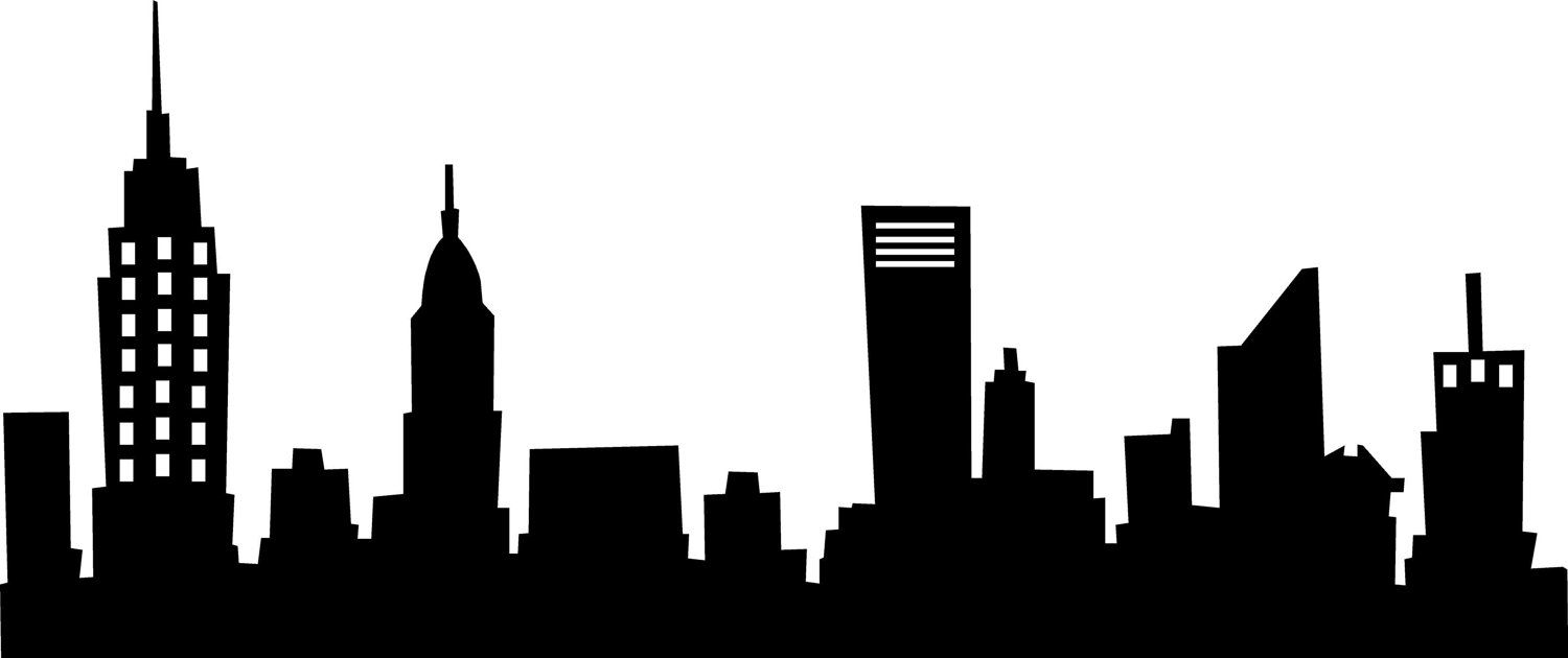 Manhattan skyline black and white clipart vintage clipart free New York Skyline wall saying art decal | School | Skyline silhouette ... clipart free