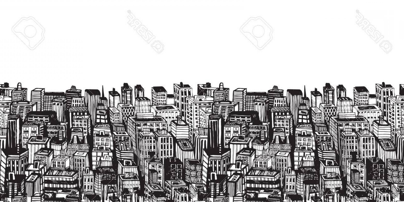 Manhattan skyline black and white clipart vintage graphic free library Photostock Vector Horizontal Banners Of Big City With Skyscrapers ... graphic free library