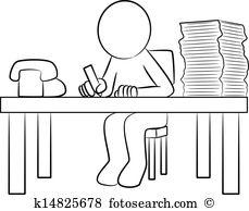Mann am schreibtisch clipart picture black and white Schreibtisch arbeit Clipart Illustrationen. 13.620 schreibtisch ... picture black and white