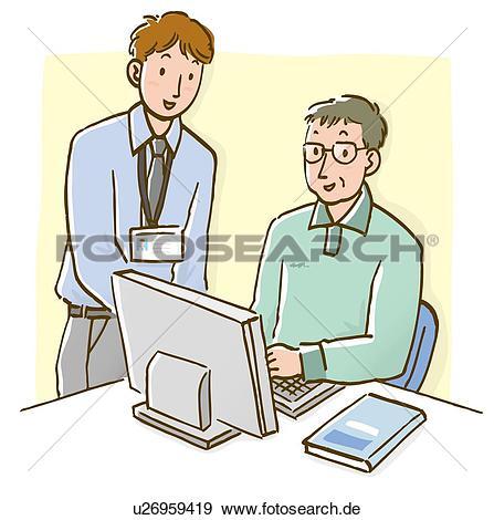 Mann am schreibtisch clipart banner library download Stock Illustration - mann- unterhaltung, to, fälliger mann, sitzen ... banner library download