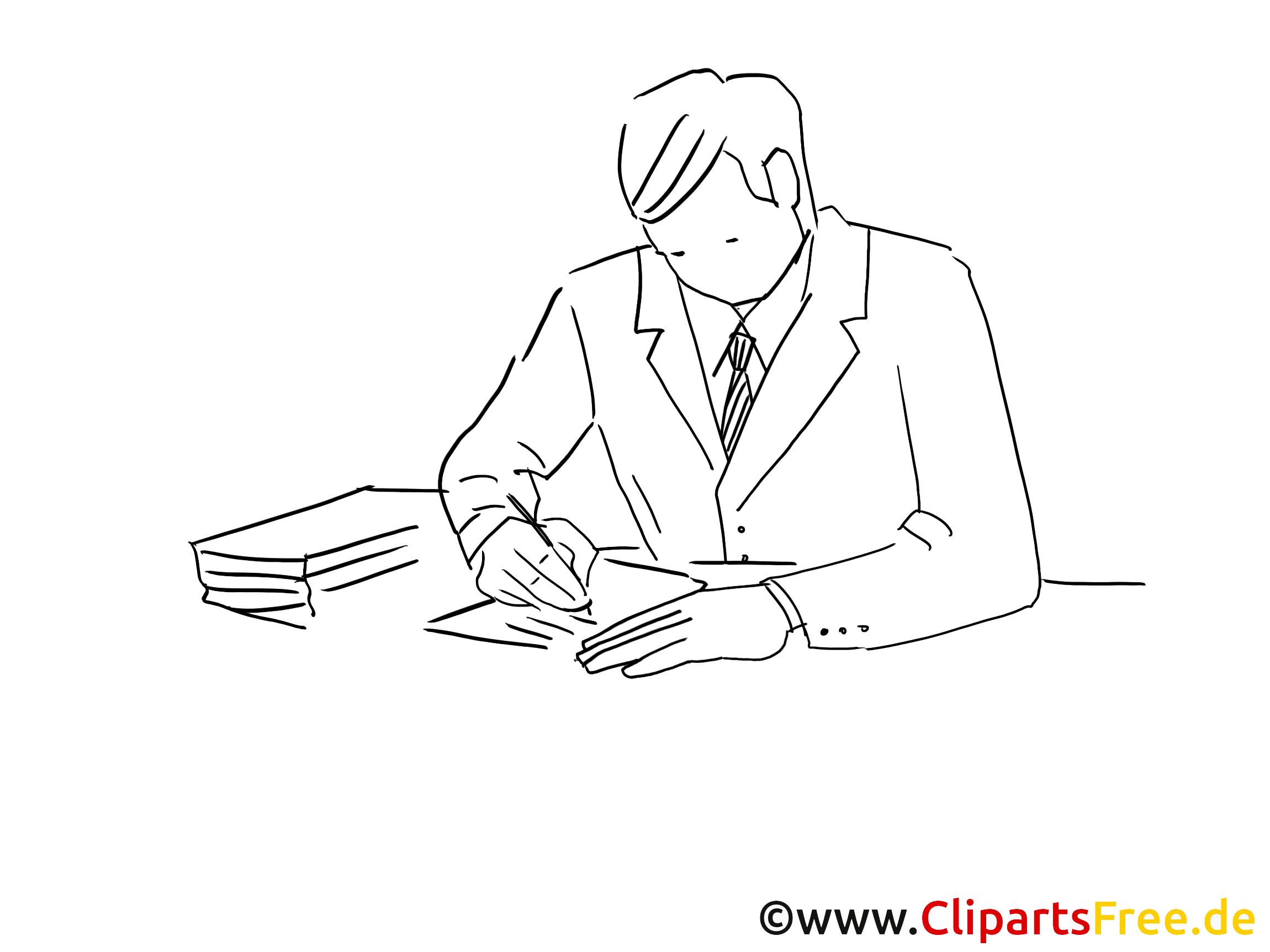Mann am schreibtisch clipart image free library Clipart schwarz-weiss Mann am Schreibtisch image free library