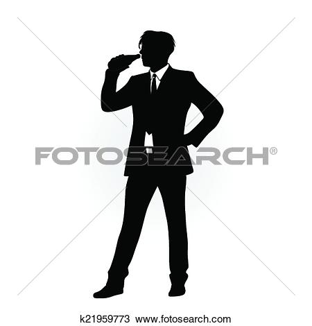 Mann im anzug clipart picture freeuse Clipart of man in suit drinking k21959773 - Search Clip Art ... picture freeuse