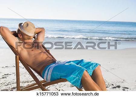 Mann im liegestuhl clipart image freeuse stock Stock Foto - hübsch, mann schlafen, auf, seine, sonnenstuhl ... image freeuse stock