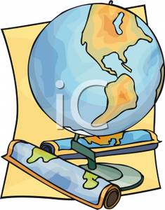 Map and globe clipart clip download Rolled Up Map and a Globe - Clipart clip download