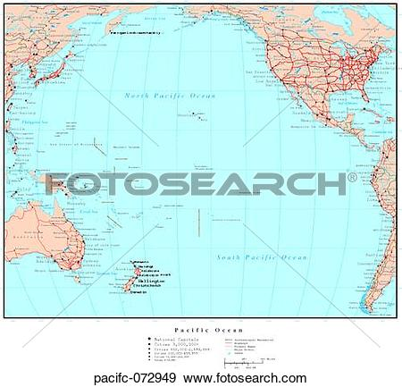 Map of pacific ocean clipart svg royalty free download Stock Photograph of Map of Pacific Ocean, with Country Boundaries ... svg royalty free download