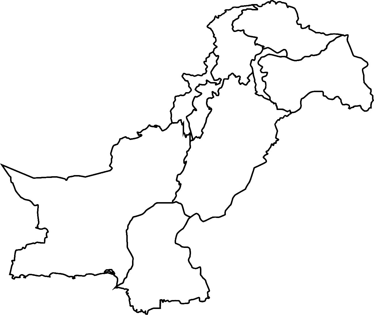 Map of pakistan clipart black and white
