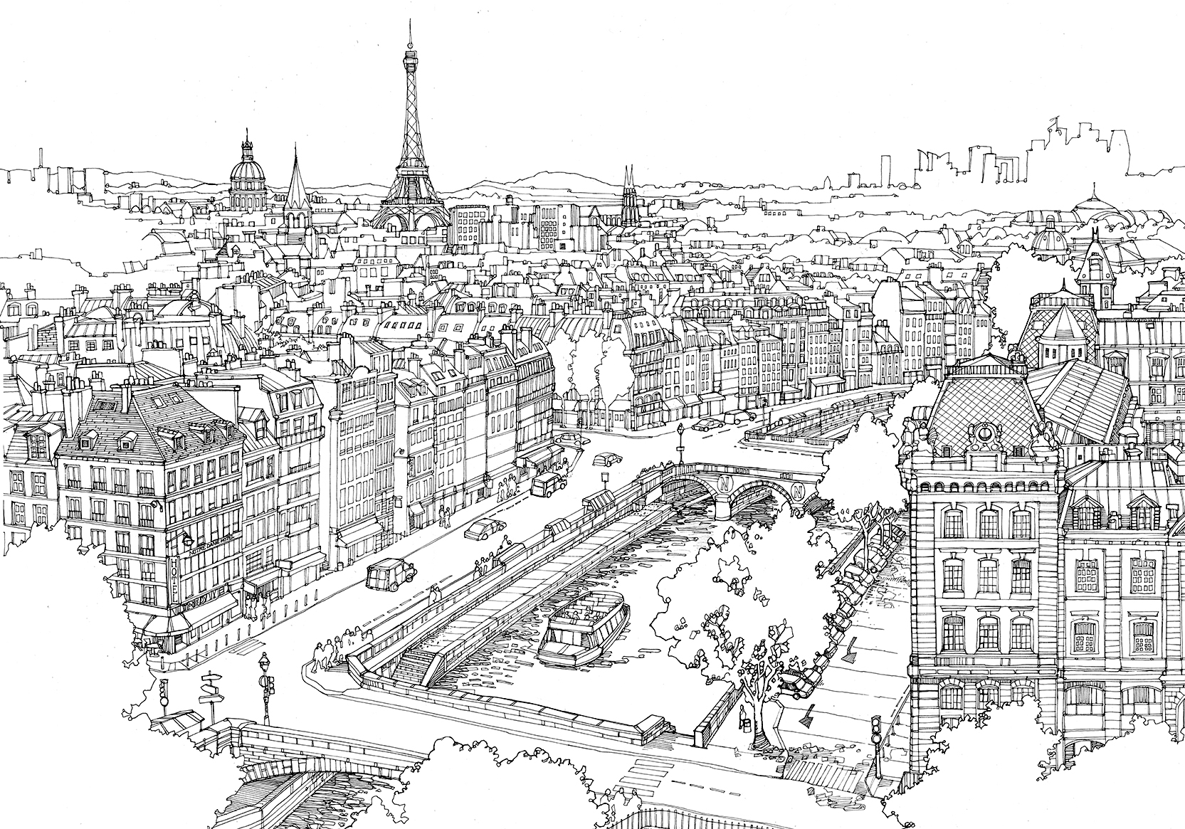 Map of paris clipart black and white picture royalty free Paris Black And White Drawing at PaintingValley.com | Explore ... picture royalty free