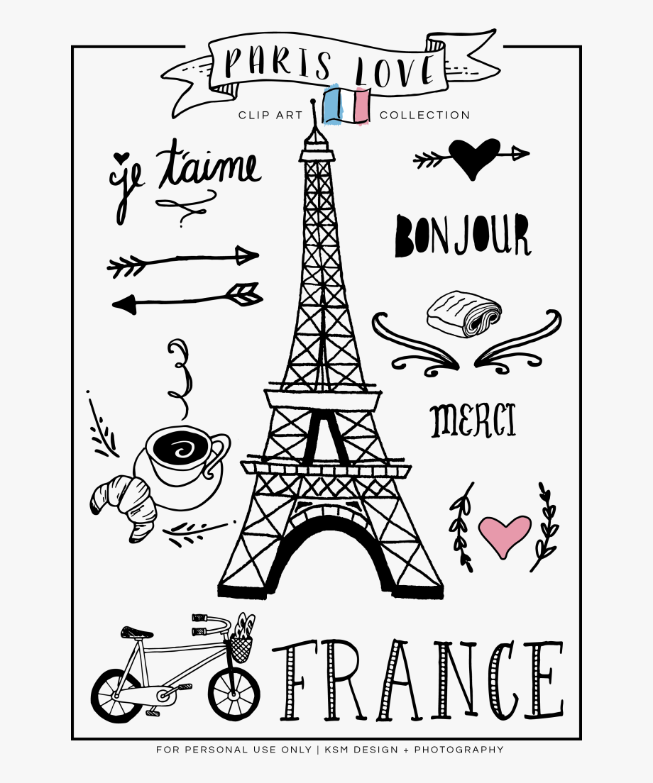 Map of paris clipart black and white image library library Paris Love Clipart {free Download} - France Clipart Black And White ... image library library