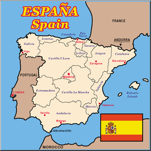Map of spain clipart png transparent download Clip Art: Spain Map Color Labeled I abcteach.com | abcteach png transparent download
