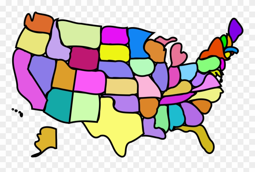 Map of the us clipart clip black and white download Us States Clipart - Cartoon Map Of Usa - Png Download (#3269501 ... clip black and white download