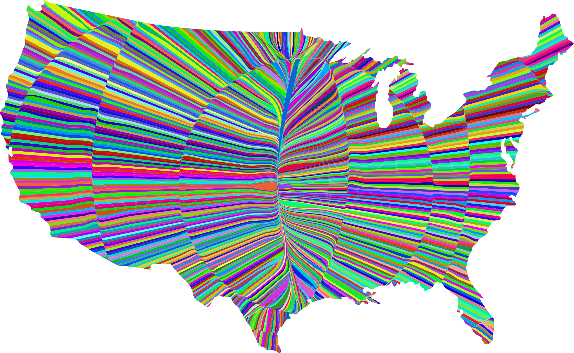 Map of united states clipart svg royalty free download Clipart - Psychedelic Waves United States Map svg royalty free download