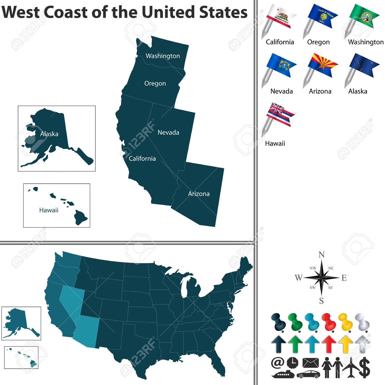 Map of western us and alaska clipart graphic library stock 1,127 West Coast Stock Illustrations, Cliparts And Royalty Free ... graphic library stock