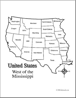 Map of western us clipart clipart free download Clip Art: US Map: Western States (coloring page) Labeled | abcteach clipart free download