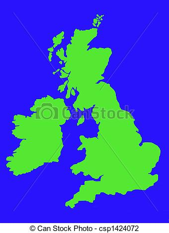 Map united kingdom clipart clip download Clip Art of Outline map of United Kingdom in green - Colorful map ... clip download