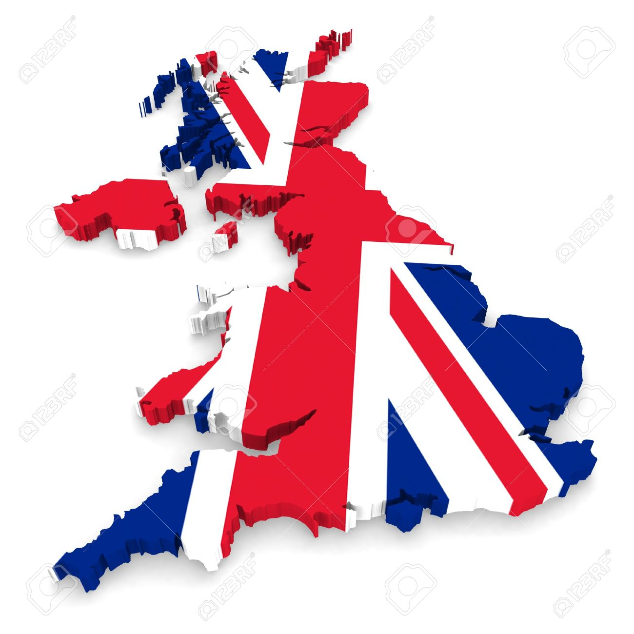 Map united kingdom clipart royalty free download UK Flag United Kingdom 3D Map Outline Stock Photo, Picture And ... royalty free download